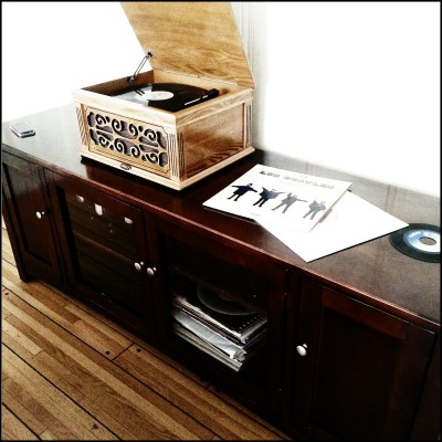 record player and entertainment cabinet